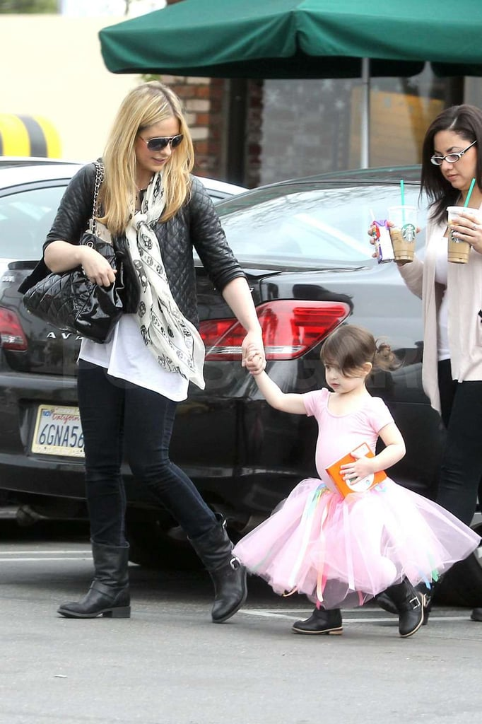 Charlotte Prinze was in a pink leotard and tutu as she left with Sarah Michelle Gellar.