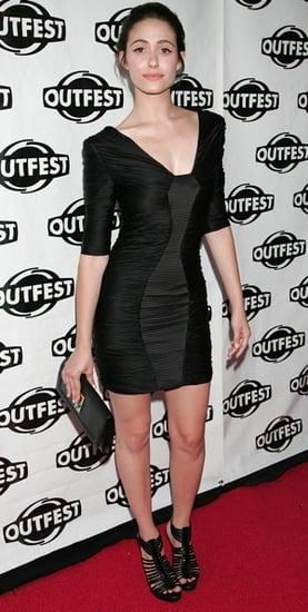 Actress Emmy Rossum in Black Ruched LBD and Black Gladiator Sandals at Outfest Closing Night Gala Premiere of Dare