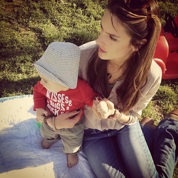 Alessandra Ambrosio spent some time in the sun with baby Noah Mazur. Source: Twitter user AngelAlessandra