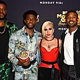 Winston Duke, Chadwick Boseman, Lady Gaga, and Michael B. Jordan