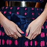 Zhang Ziyi carried a navy-blue satin clutch to match her blue-and-pink gown.