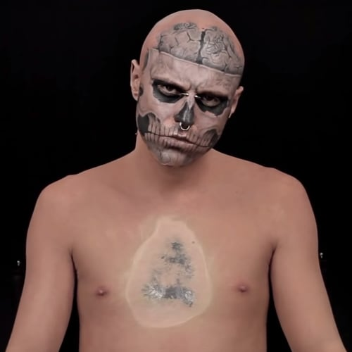 """Zombie Boy"" Rick Genest Gets Covered Up With Dermablend"
