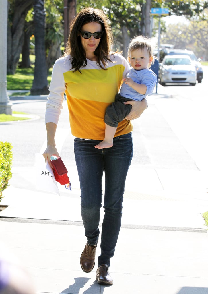 Jennifer Garner wore a bright top while out in LA with Samuel.