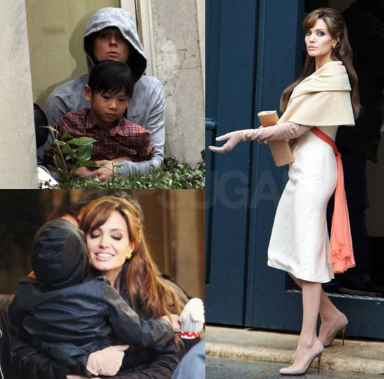 Photos of Angelina Jolie, Pax Jolie-Pitt on the Paris Set of The Tourist