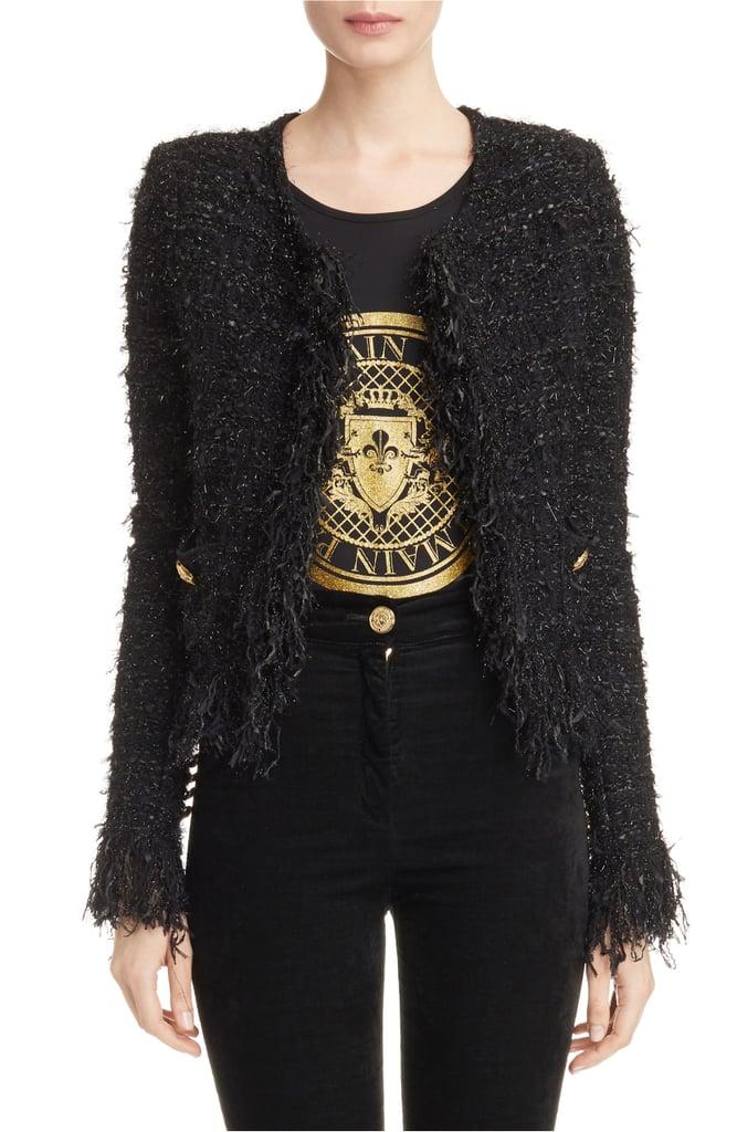 Balmain Fringe Trim Sweater Jacket