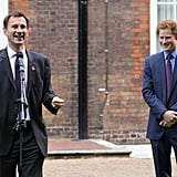 Prince Harry wore a blue suit to host the reception for the winning athletes of the First National Finals of the School Games in London, England.