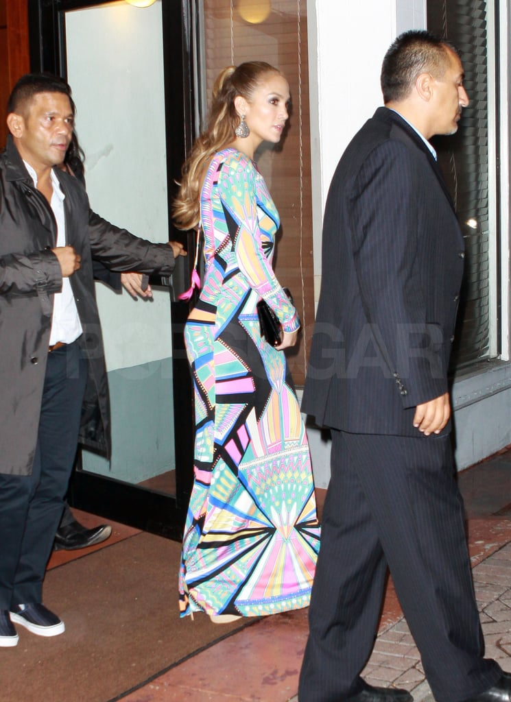 Jennifer Lopez joined friends for dinner in Miami on Friday.