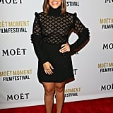 Gina Rodriguez chose a chic, romantic LBD for Moët & Chandon's Globes fete.
