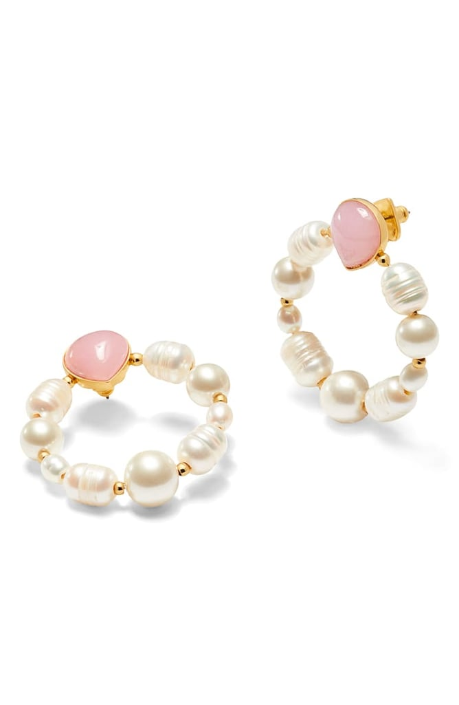 Kate Spade New York Freshwater Pearl & Jade Hoop Earrings