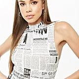 Forever 21 Newspaper Print Bodysuit