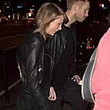 Taylor and Calvin were spotted holding hands in April, both of them sporting coordinating leather jackets and Taylor wearing a big smile on her face.