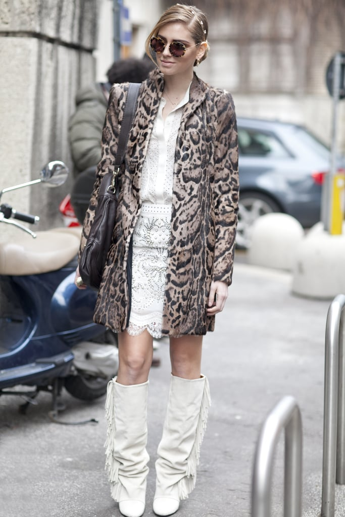 These white-on-white separates didn't lack any wow factor, especially not with a leopard-print coat layered on top.