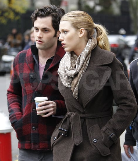 Pictures of Blake Lively and Penn Badgley on the NYC Set of Gossip Girl