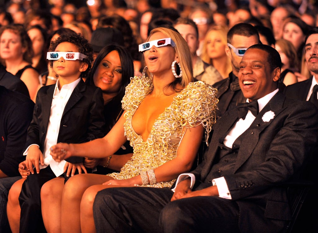 Beyoncé and Jay-Z watched a performance at the Grammys with her nephew Julez in 2010.