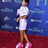 Eris Baker Purple Dress at the Frozen 2 Premiere