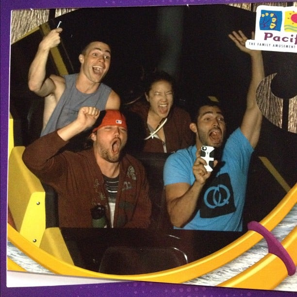 Colton Haynes hung out with friends on a roller coaster. Source: Instagram user coltonlhaynes