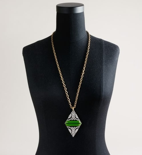 Lulu Frost for J.Crew Crystal Duette Pendant Necklace in Green ($135)