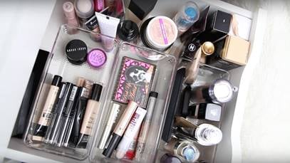 "Best beauty organization tip: ""Sort through your collection on a regular basis. Make sure to toss anything that has expired, and make sure everything you keep is something you actually like and will use."""
