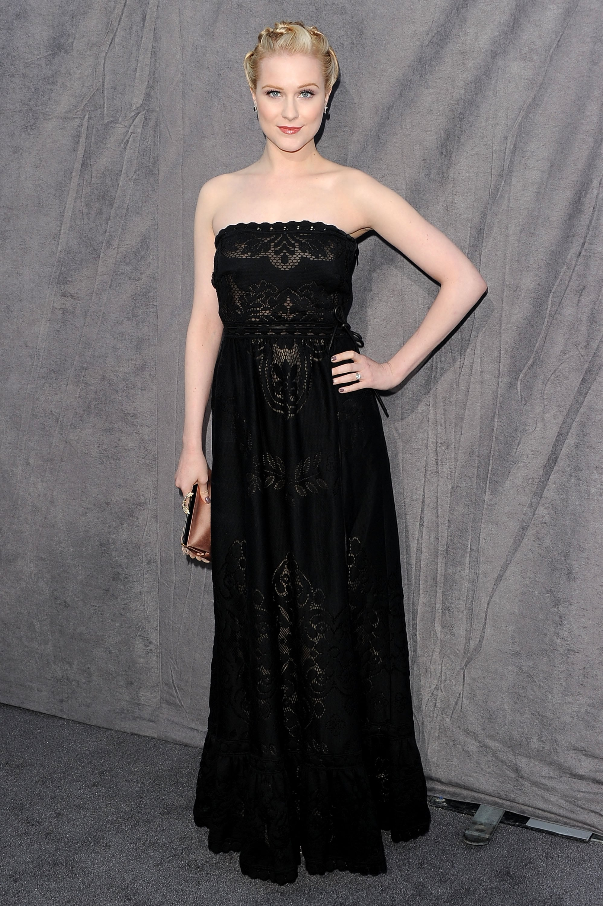 Evan Rachel Wood hit the gray carpet in a strapless black dress at the 2012 Critics' Choice Movie Awards.
