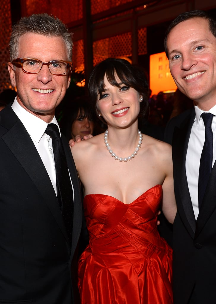 Zooey Deschanel mingled with Fox execs at the Fox Network Golden Globes party.
