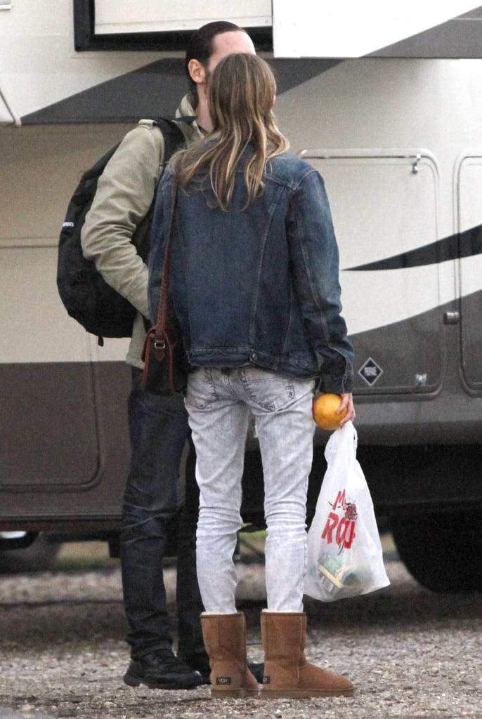 Kate Bosworth showed fiancé Michael Polish some love on the set of Homefront in New Orleans.