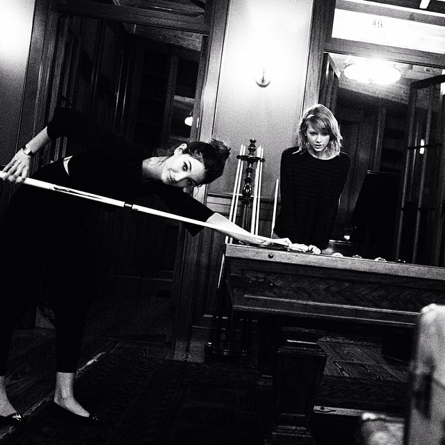Taylor Swift and Lily Aldridge played pool. Source: Instagram user taylorswift