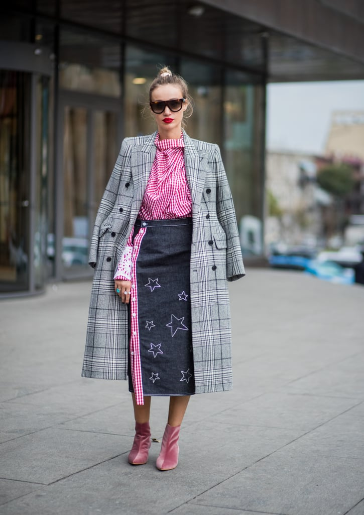 Don't knock the denim pencil skirt — you can use one to freshen up an old checked coat and break up pops of color in your look.