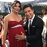 Mario Lopez rubbed Morena Baccarin's baby bump on the red carpet. Source: Twitter user MarioLopezExtra