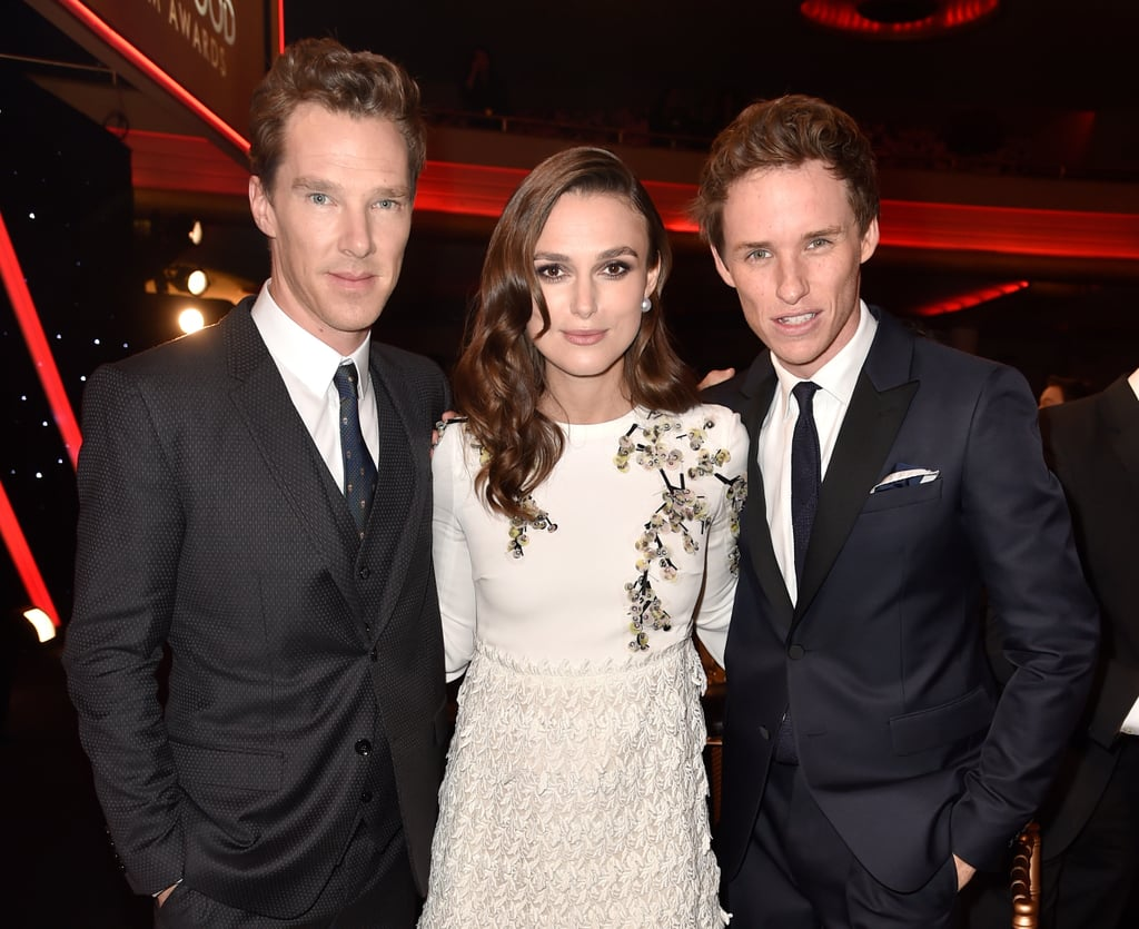 Keira Knightley became the envy of women everywhere when she found herself in the middle of a man sandwich at the Hollywood Film Awards on Friday night in LA. She sidled up to Eddie Redmayne and Benedict Cumberbatch during the show to pose for photos with her fellow Brits. The actress was at the award show to be honored with the supporting actress award for her role in The Imitation Game, which also stars Benedict. Interestingly enough, Benedict and Eddie have worked together in the past as they both had small roles in 2008's The Other Boleyn Girl. While all three actors are on friendly terms in the tight-knit British actor community, many expect Eddie and Benedict to be lead contenders for the best actor award in the upcoming award season. (Eddie has been winning a lot of praise for his lead role in The Theory of Everything.)