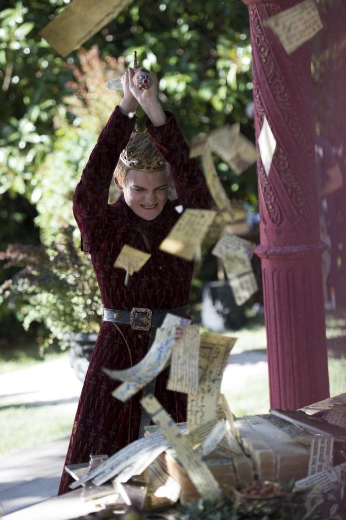 joffrey rudely chops up tyrions wedding gift joffrey