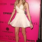 Lily Donaldson modeled her pretty dress on the pink carpet.