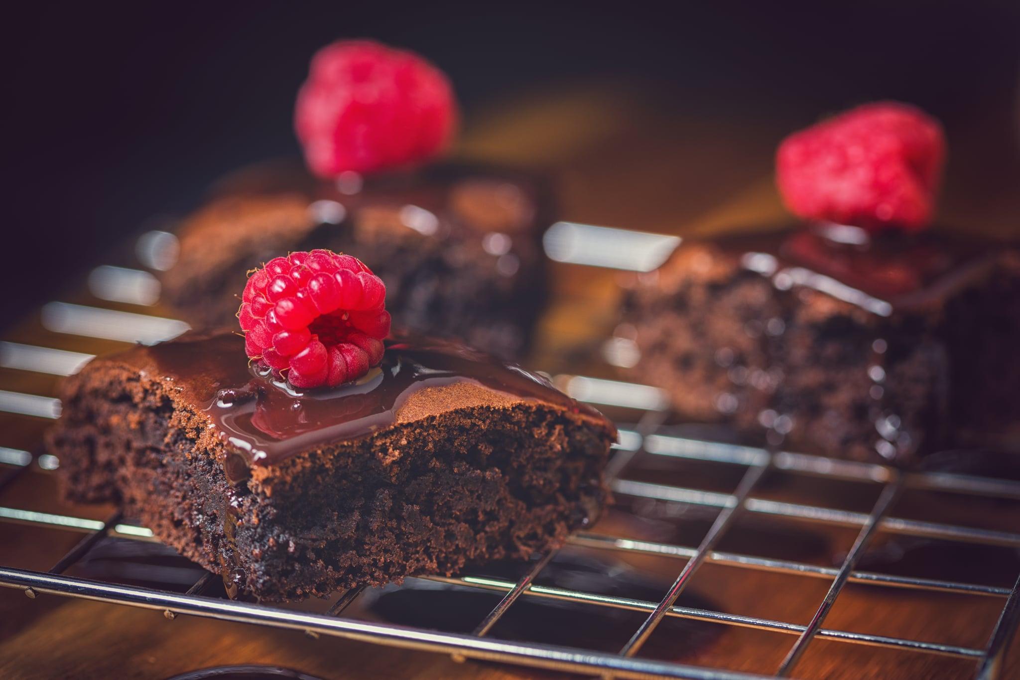 Freshly made chocolate brownies with raaspberries
