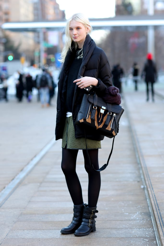 When you're bundled up, take a cue from this model, and make sure you bring your arm candy.