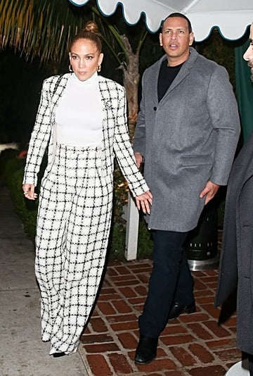 Jennifer Lopez's Black-and-White Tweed Suit With ARod