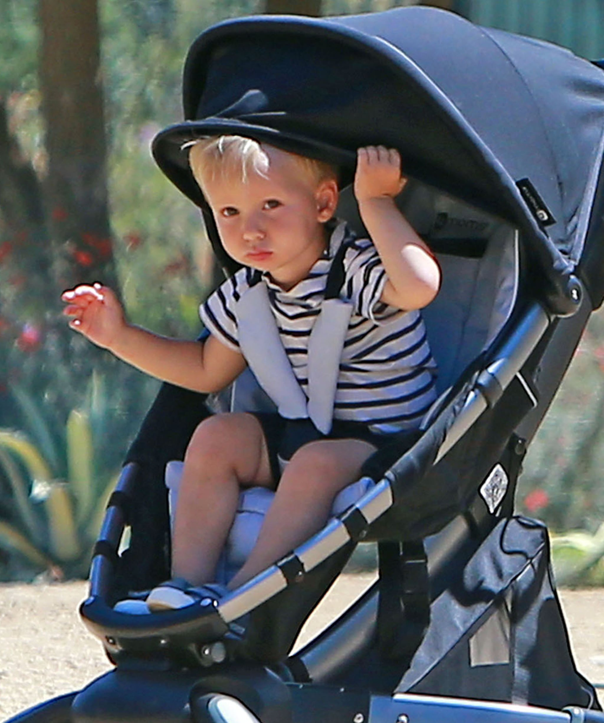 Aleph Millepied rode in his stroller at the museum.