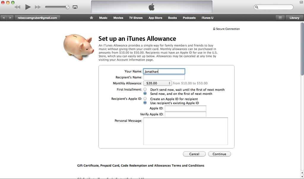 Create an iTunes Allowance