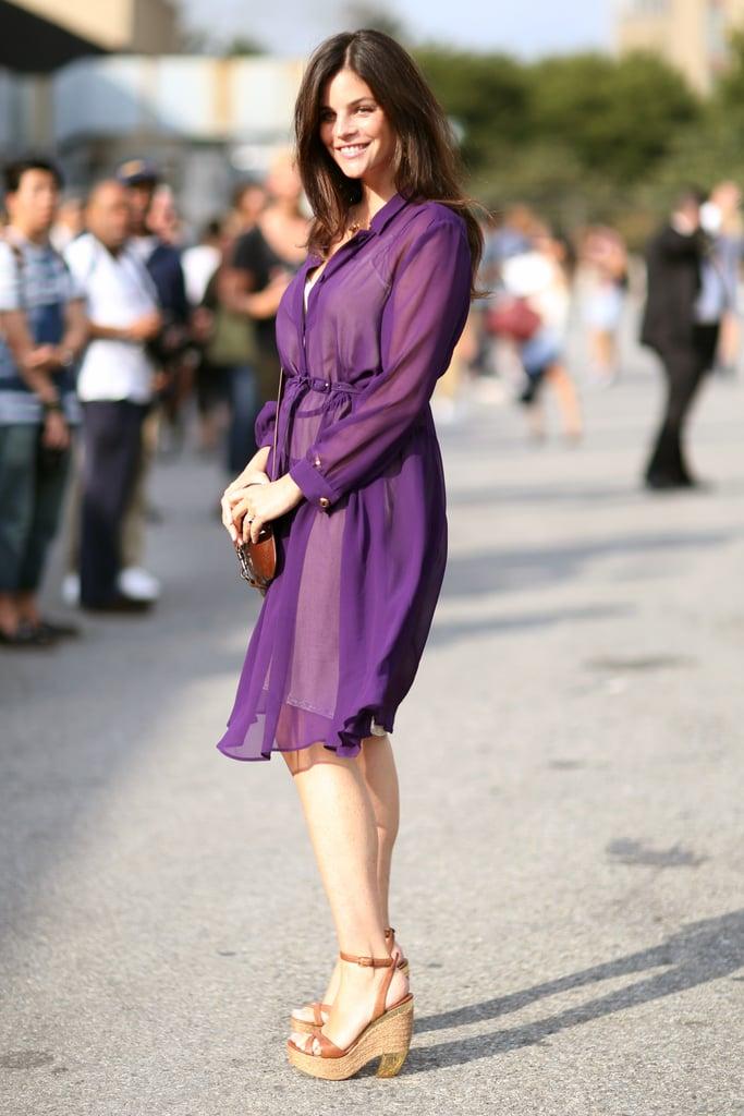 Julia Restoin Roitfeld was glowing in a sheer violet-hued shirtdress. Source: Greg Kessler