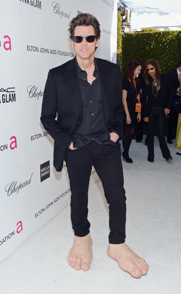 Jim Carrey had a laugh as he stepped out for Elton John's Oscar party in LA.