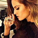 Izabel Goulart showed off sexy cat-eye liner and Dolce & Gabbana jewels.  Source: Instagram user izabel_goulart