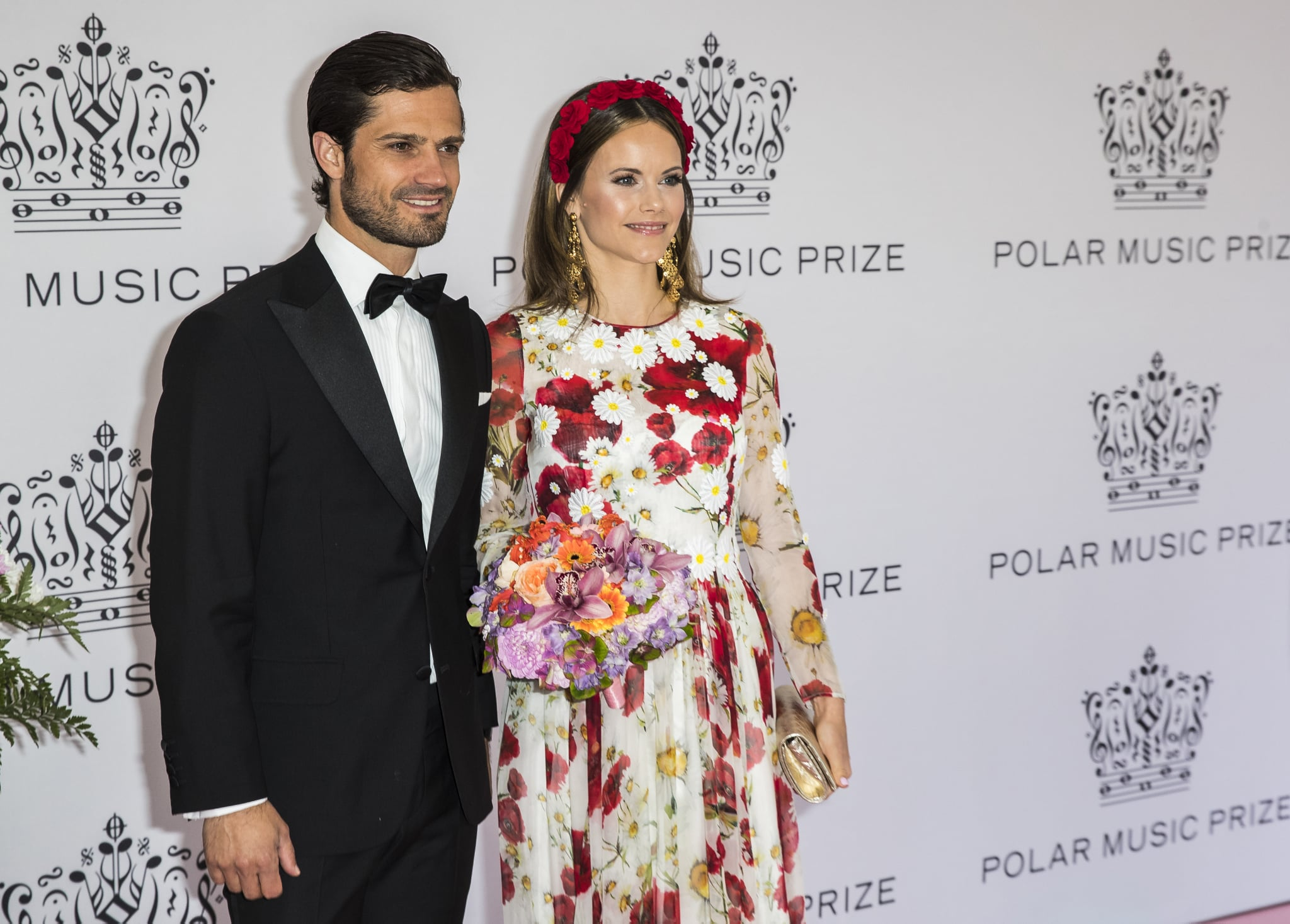 STOCKHOLM, SWEDEN - JUNE 11: Prince Carl Philip of Sweden and Princess Sofia of Sweden pose on the red carpet during the 2019 Polar Music Prize award ceremony  on June 11, 2019 in Stockholm, Sweden. (Photo by Michael Campanella/Getty Images)