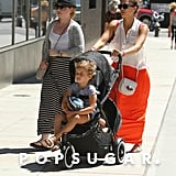 Jessica Alba pushed her daughters around NYC.