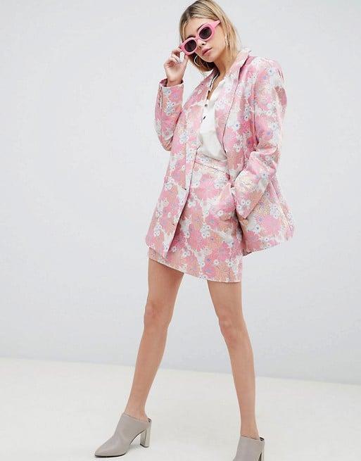 Asos Design Tailored Floral Jacquard Blazer Miniskirt Suit