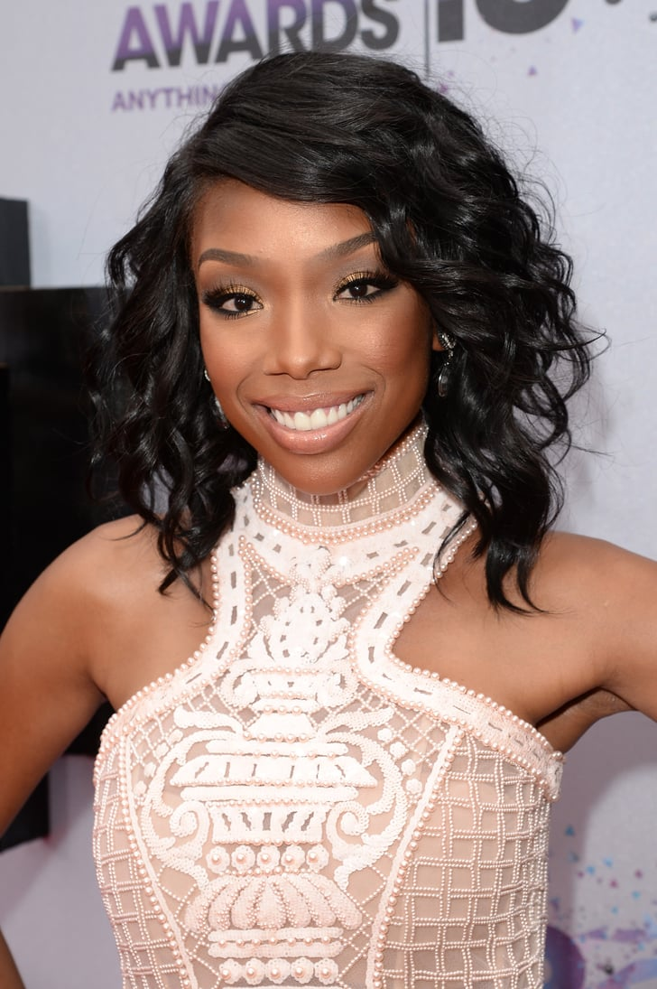 Brandy Norwood wore her graduated bob in curls with a ...