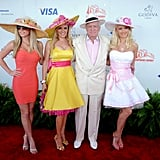 The late Hugh Hefner brought his then-girlfriends to the 2008 derby.