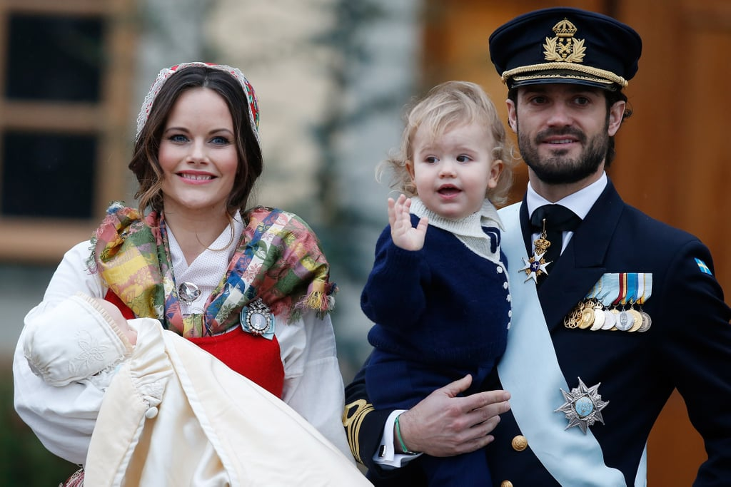 "Prince Carl Philip and Princess Sofia of Sweden were proud parents at the christening of their youngest son, Prince Gabriel. The 3-month-old was baptised at the Drottningholm Royal Palace Chapel in Stockholm, with Sofia wearing a traditional red and white Folkdräkt — a Swedish folk costume — and Carl in his traditional suit and medals. King Carl Gustaf and Queen Silvia; Princess Madeleine and her husband, Christopher O'Neill; and Prince Daniel, Crown Princess Victoria, and their kids were all there to witness the happy occasion. Princess Estelle, Gabriel's 5-year-old cousin, was on hand to help pour the baptismal water on the little one, but he was not having it. He reportedly started crying when the clergyman started pouring the water on the front of his head, but he stopped the moment he was back in the arms of his mum, according to People. His big brother, 1-year-old Prince Alexander, also had a small tantrum when he fell onto the church's stone floor, but he quickly recovered before his dad came to get him. Despite the mishaps, the family's happiness in the pictures that follow is contagious.      Related:                                                                                                           Princess Sofia's First Encounter With Prince Carl Philip Was ""Love at First Sight"""