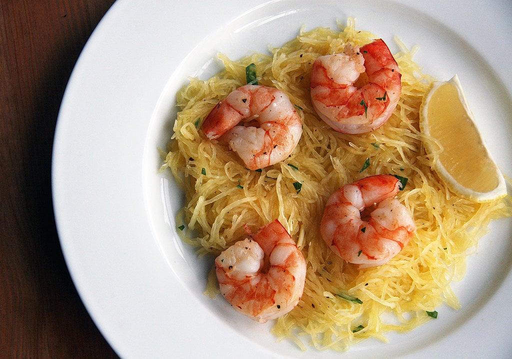 Roasted Prawn Over Spaghetti Squash