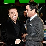Ricky Gervais and Ty Burrell shared a laugh at The Muppets: Most Wanted premiere in London on Modnay.