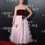 In April, the actress wore a stunning Oscar de la Renta gown to the premiere of A Quiet Place.