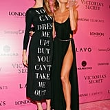 Behati Prinsloo and Candice Swanepoel posed for photographers on the pink carpet in NYC.