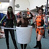 Gamora, Baby Groot, and Rocket Racoon